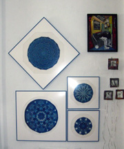 My work, in Blue - Photo by Lis J. Schwitters