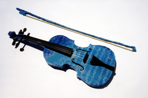"""Blue Notes"" Violin, by Lis J. Schwitters"