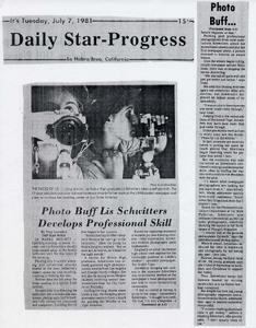 Saavedra, Tony: Photo Buff Lis Schwitters Develops Professional Skill Daily Star-Progress July 7, 1981